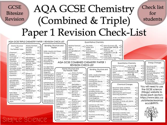 AQA GCSE Chemistry Paper 1 Revision Check-List (Combined & Triple)