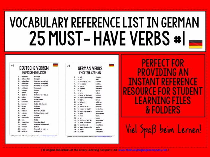 GERMAN VERBS 25 MUST-HAVE VERBS REFERENCE LIST #1