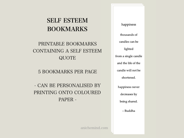 Self Esteem Bookmarks - Happiness Quote