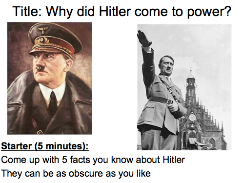 Year 9 Nazi Germany- Lesson 1 Why did Hitler come to power?