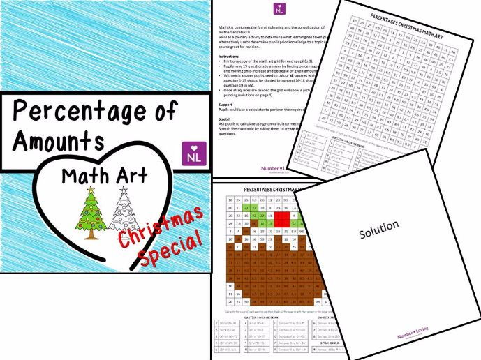 Percentages of Amounts, Christmas Special (Math Art)