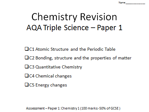 AQA Chemistry GCSE  paper 1 revision C1-C5