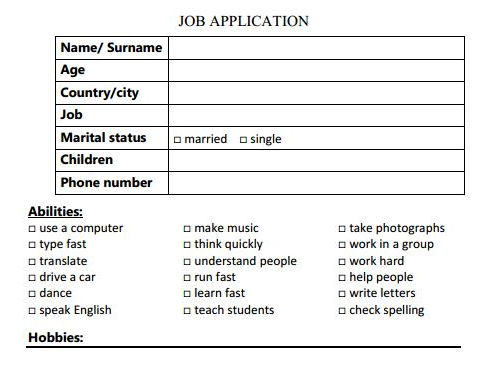 Job interview (set of activities)