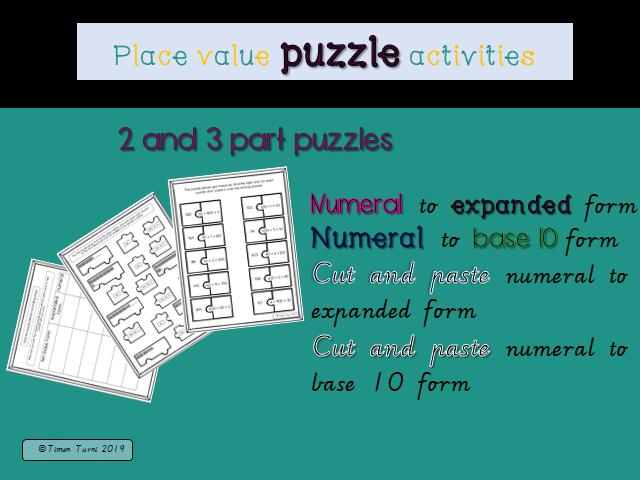 Place value puzzle activities