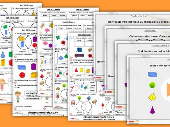 Year 2 Sort 3D Shapes Spring Block 3 Step 11 Lesson Pack