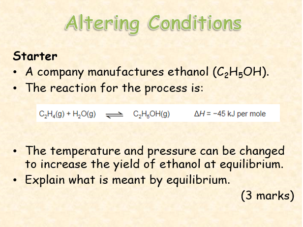 AQA Chemistry Topic 8; Altering Conditions
