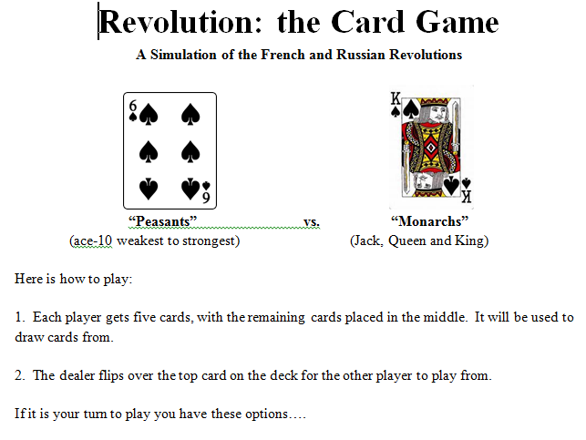French/Russian Revolutions Card Game AND Exploration/Imperialism Board Game