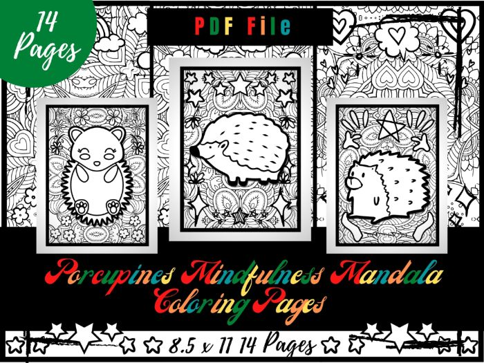 Porcupines Mindfulness Mandala Coloring Pages, Animals Printable Coloring PDF