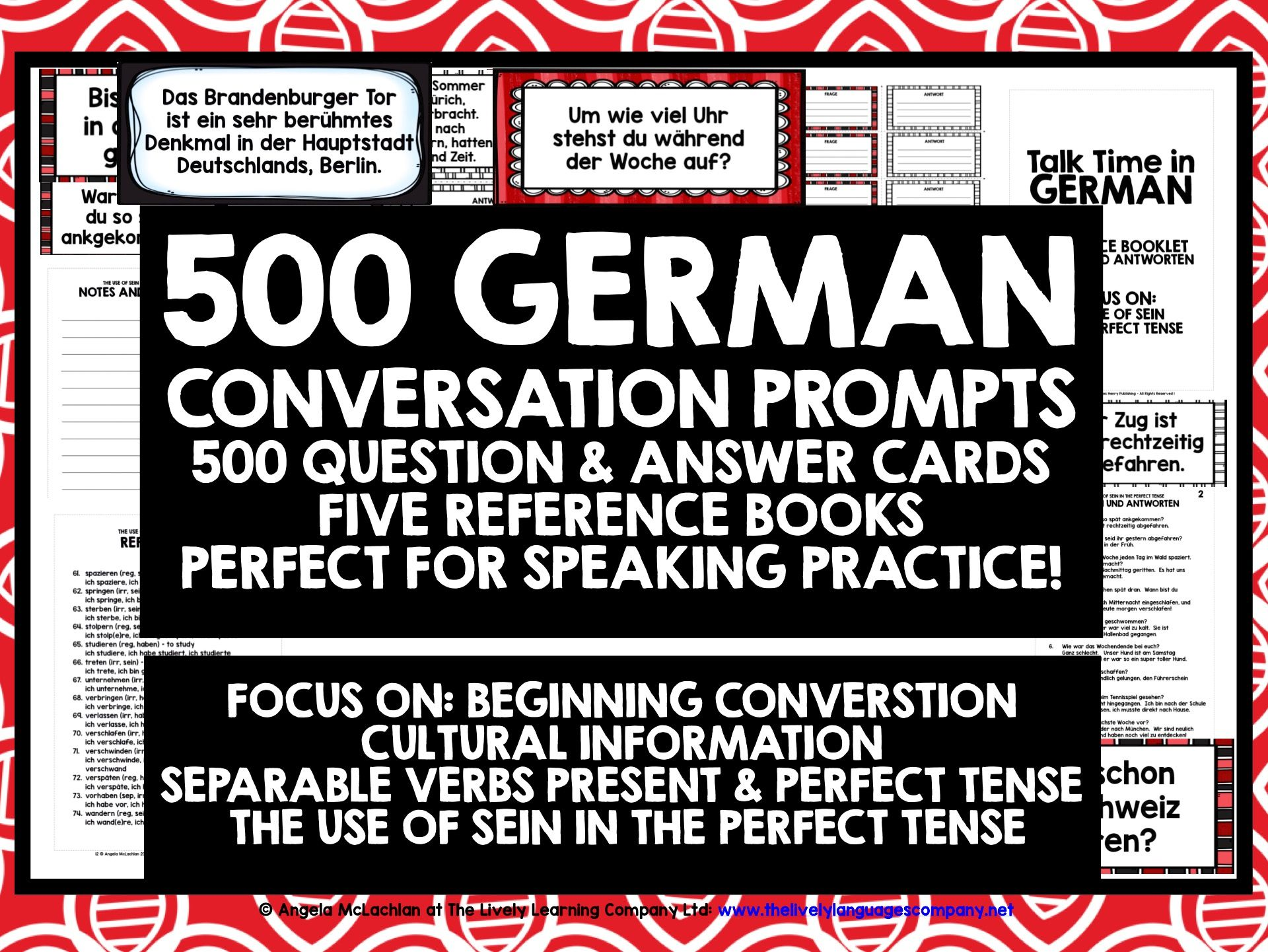 GERMAN CONVERSATION CARDS 500 QUESTION & ANSWER PROMPTS