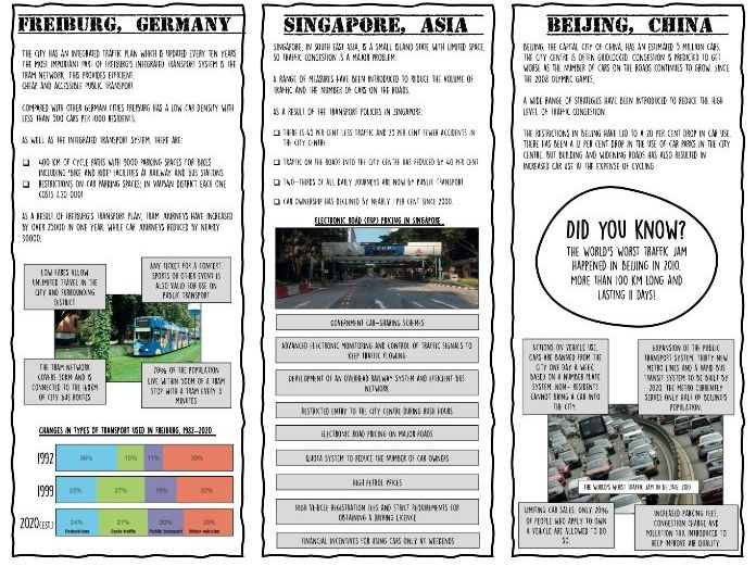 Sustainable traffic management lesson and worksheets