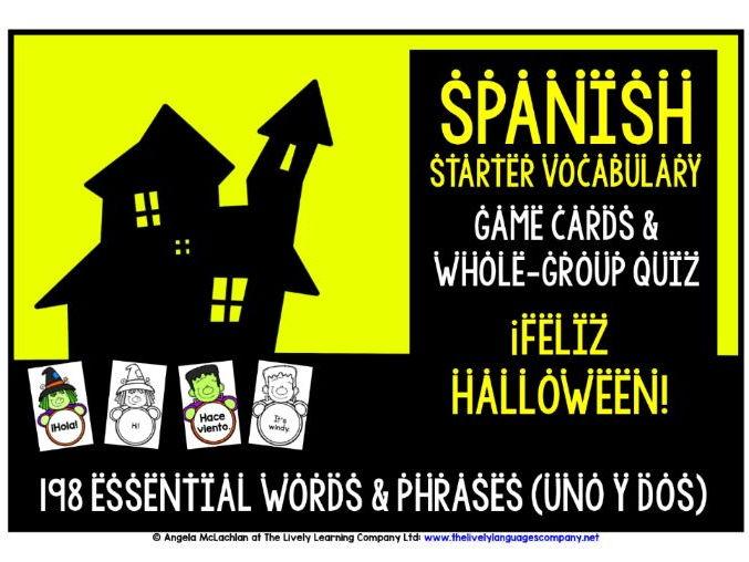 SPANISH VOCABULARY HALLOWEEN GAMES & QUIZ 198 WORDS & PHRASES