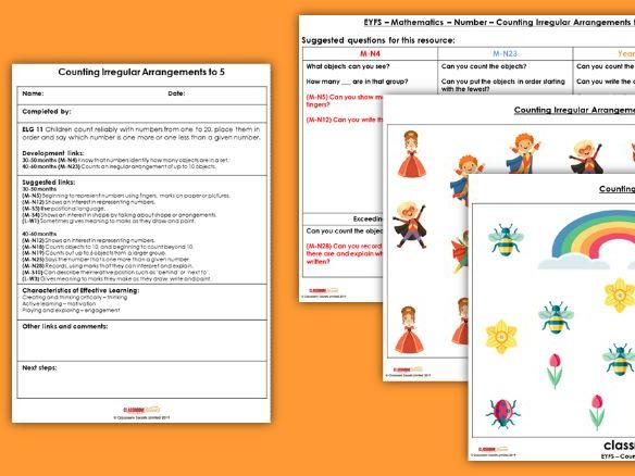 EYFS Maths Counting Irregular Arrangements (to 5) Planning, Resources & Observation Pack
