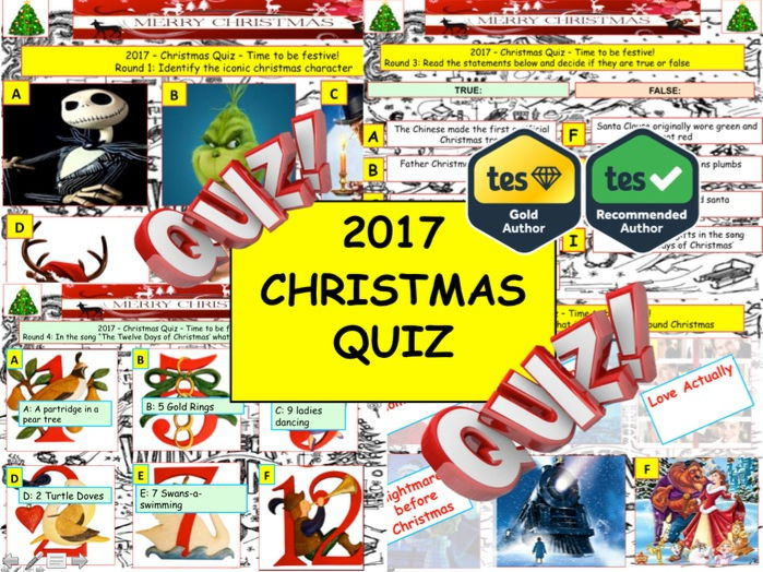 Christmas Quiz 2017 .Festive Big Quiz - End of term Quiz Christmas