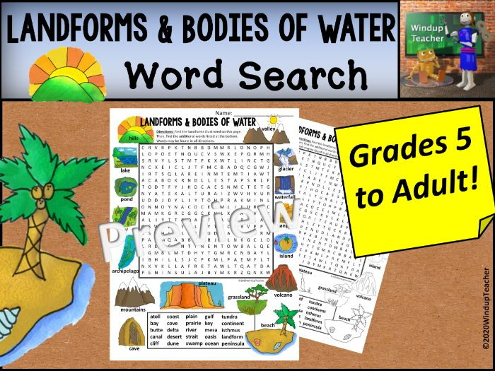 Landforms Word Search - Hard for Grades 5 to Adult