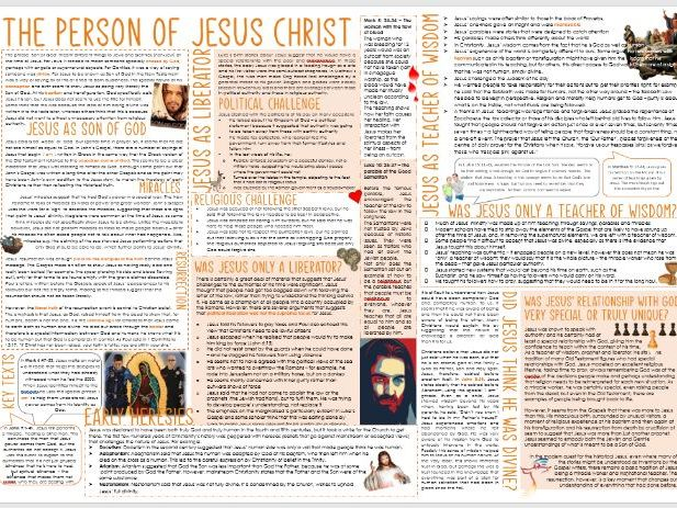 OCR A Level: The Person of Jesus Christ - Learning Mat for Revision