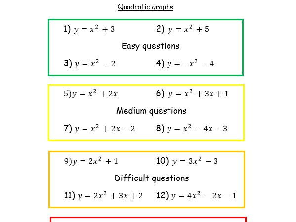 Differentiated quadratic graphs with answers
