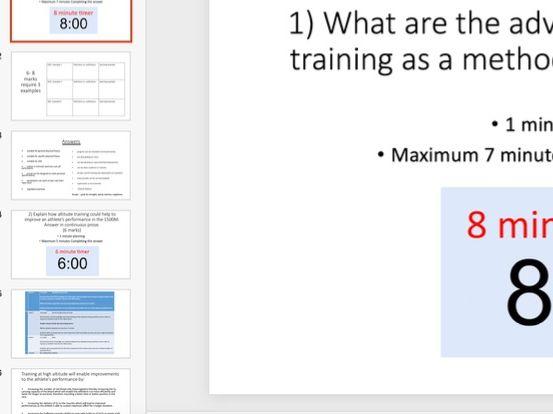 GCSE PE 8 Mark question breakdown