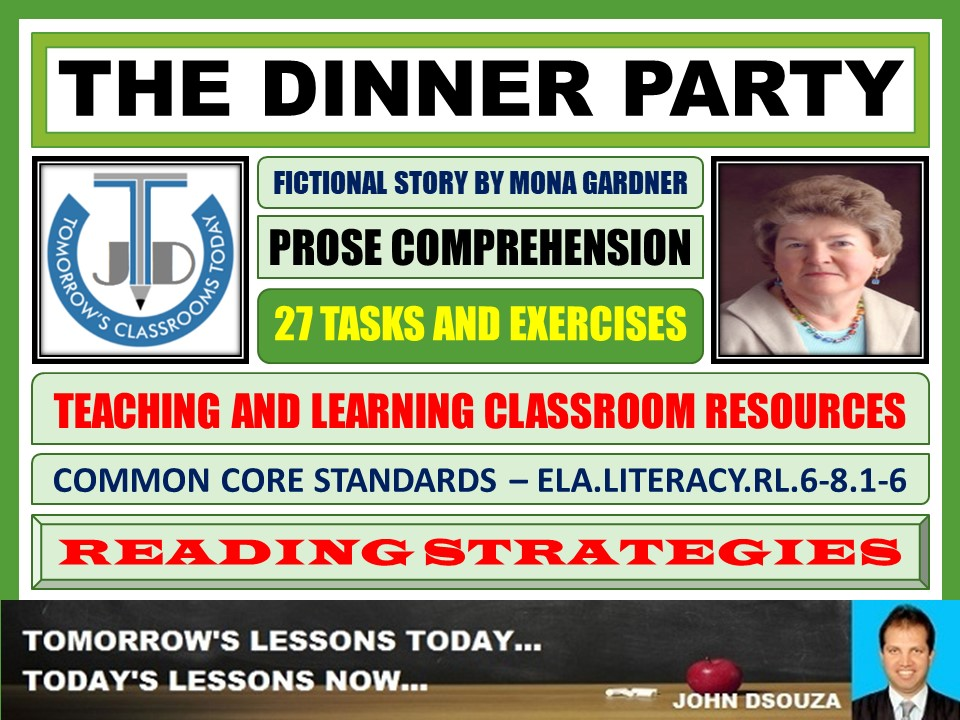 THE DINNER PARTY - STORY COMPREHENSION - TASKS AND EXERCISES
