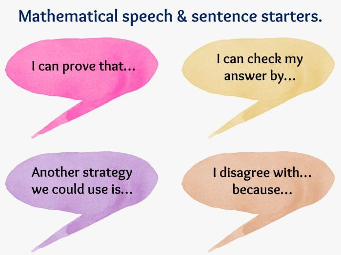 Mathematical speech and sentence starters