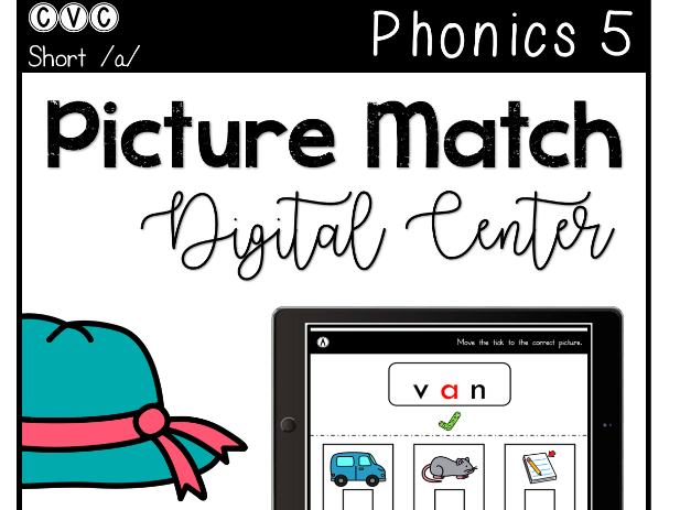 CVC Short A - Digital Center - Picture Match - Phonics (Google Classroom)