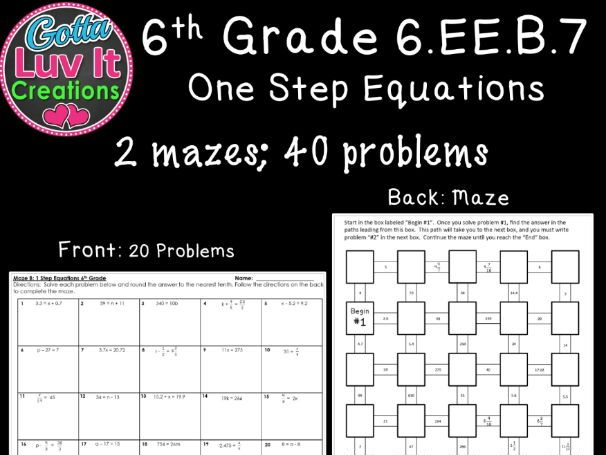 One Step Equations No Negatives - 2 Mazes
