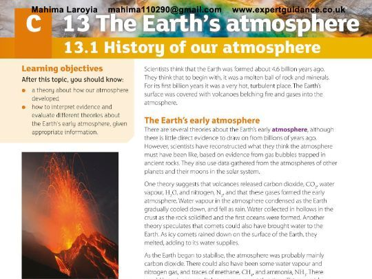 New (9-1) Revision Pack AQA GCSE Chemistry C13 The Earth's Atmosphere-Notes, Questions, Past Papers