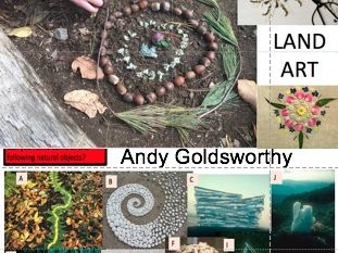 Andy Goldsworthy practical worksheet analysis on example and students land art task
