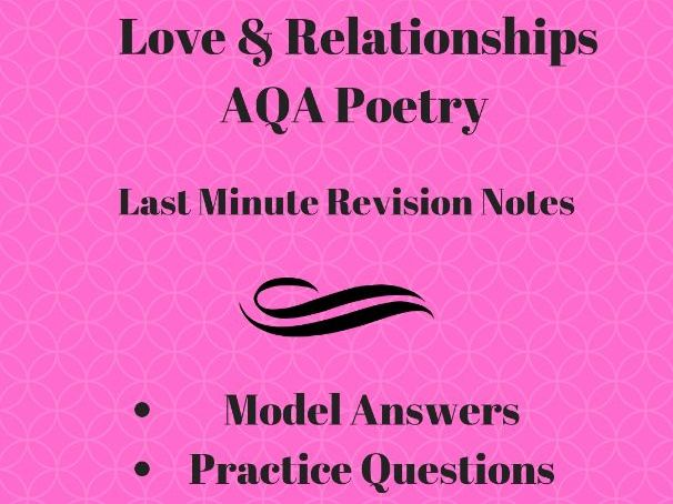 A* Love & Relationships  Poetry Answers: Anthology Revision Pack