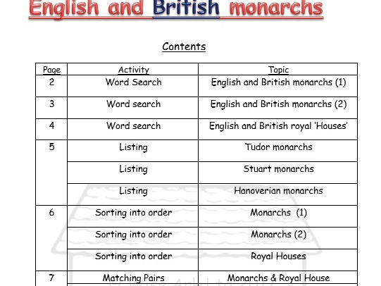 English and British monarchs -challenges & word searches