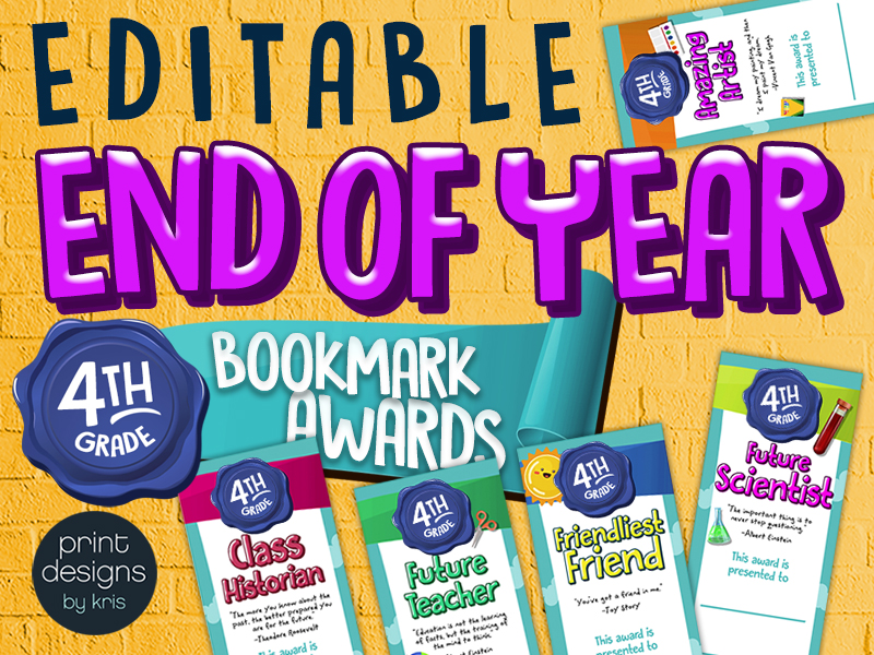 End of the Year FOURTH GRADE Student Superlative Awards Bookmarks