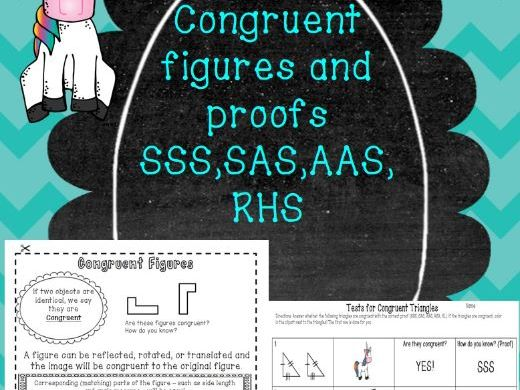 Congruent Figures, Proofs for Congruent Triangles Notes, Practice, Coloring!