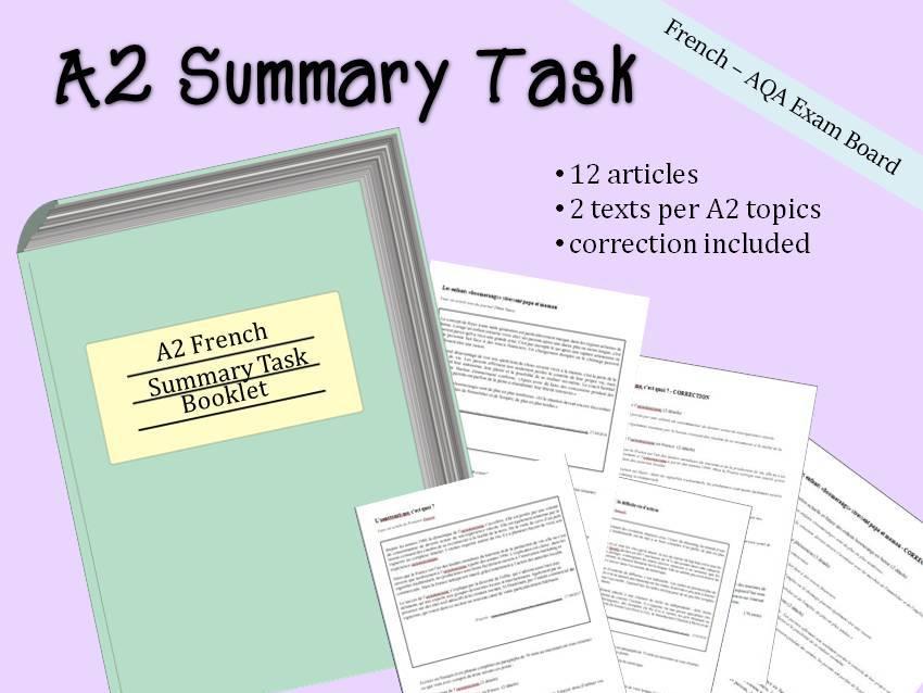 French A2 summary practice - A level résumé