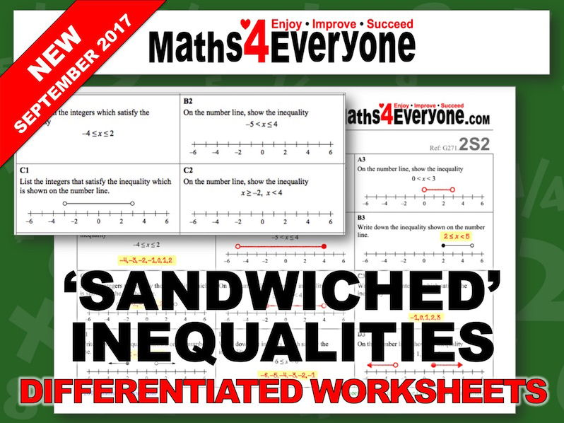 'Sandwiched' Inequalities (Differentiated Worksheets)