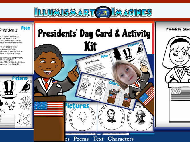 FREEBIE! Presidents' Day Card-Making Kit! Poems, Pictures, Text, & Characters!