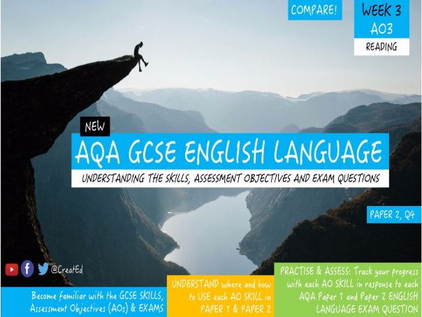 New GCSE English Language Skills UNIT, AO3 COMPARE, Paper 2 Question 4.