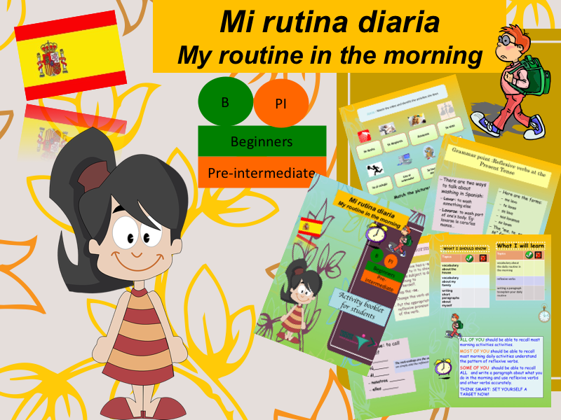 Spanish Daily routine (lesson + exercices) / Mi rutina diara