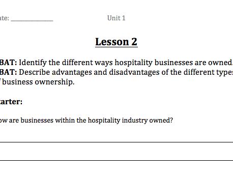 BTECFirst Hospitality - Unit 1 booklet
