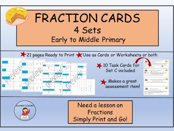 Fractions - Cards/Worksheets-PerfectforHomeLearning
