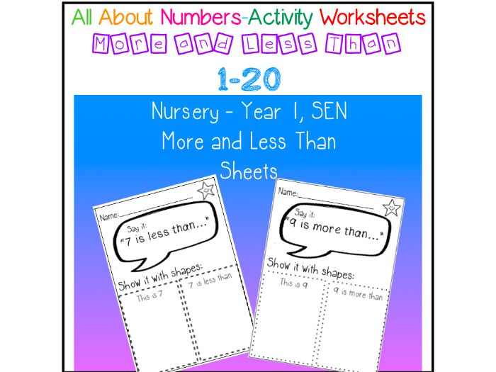 All ABout Numbers - More Less Than - no prep worksheets