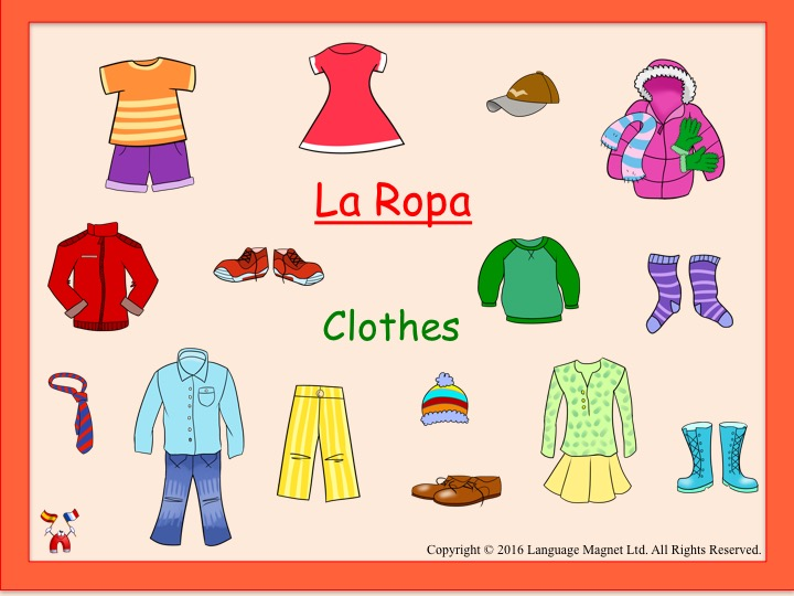 Spanish Clothes Presentation, Bingo Game and Audio QR Code Vocabulary Sheet