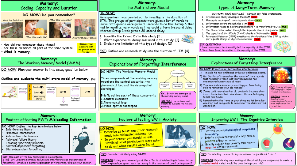 *MEMORY TOPIC* COMPLETE LESSON SLIDES AND WORKSHEETS - A-LEVEL PSYCHOLOGY