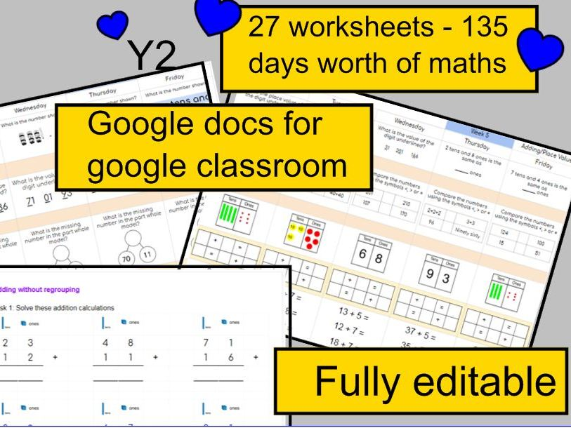 KS1 Maths Home learning  activities daily maths: 30 google docs Children distance learning