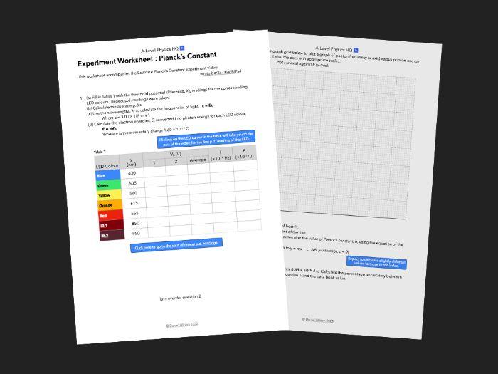 Planck's Constant Experiment Worksheet