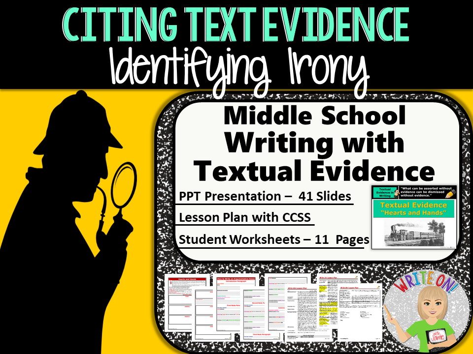 Text Evidence Constructed Response Prompt Identifying Irony
