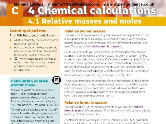 AQA GCSE Chemistry 2nd Edition 4 Chemical Calculation  Revision Videos,Notes