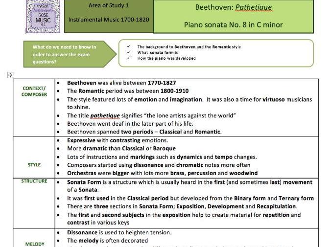 GCSE Music Edexcel 9-1 Beethoven - Romantic Key terms Sheet