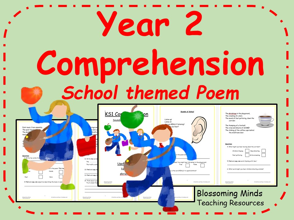 Year 2 poetry comprehension - School theme