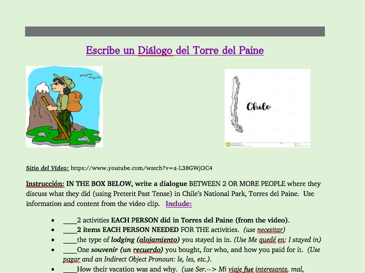 Preterit Cultural Writing Activity (Spanish)