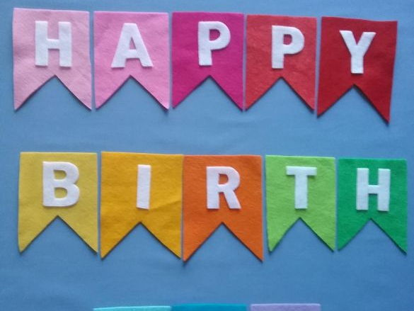 Happy Birthday Bunting Felt Board Set Digital Pattern