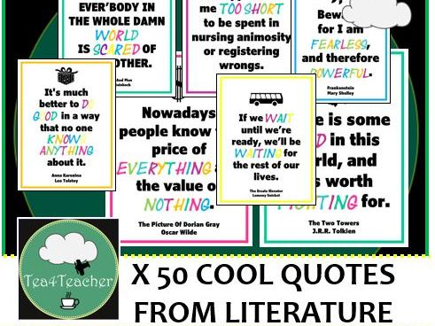 50 Great Quotes from Literature- Colourful Display Posters for Secondary English Classrooms